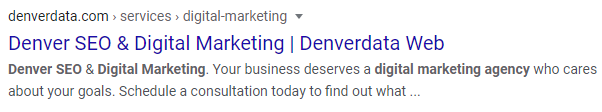 Denver SEO and Digital Marketing agency search result.
