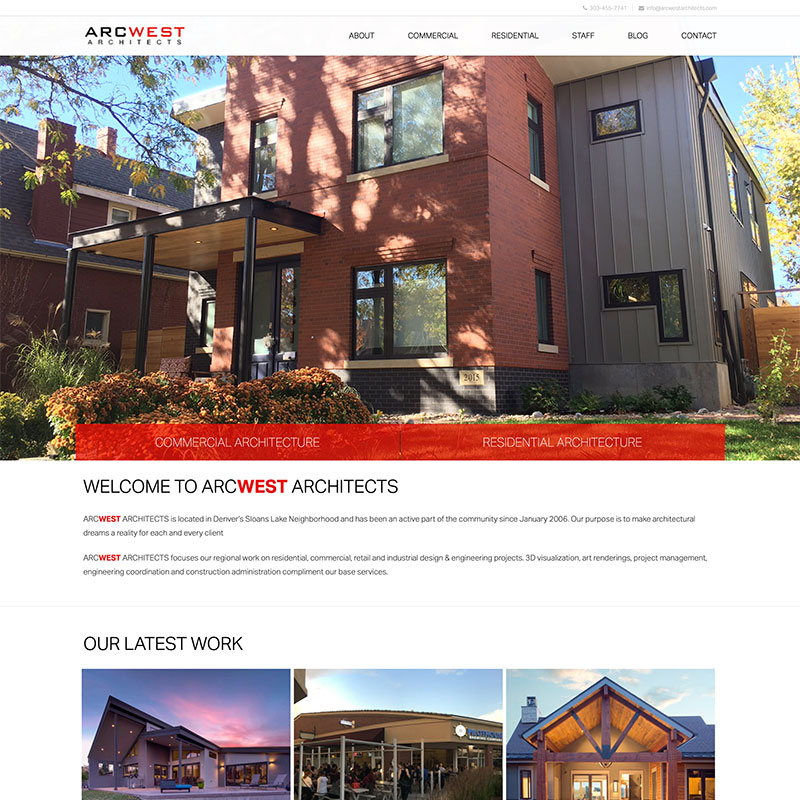 Arcwest Architects Homepage Design