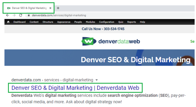 denverdata web onsite title tag and Google title tag.