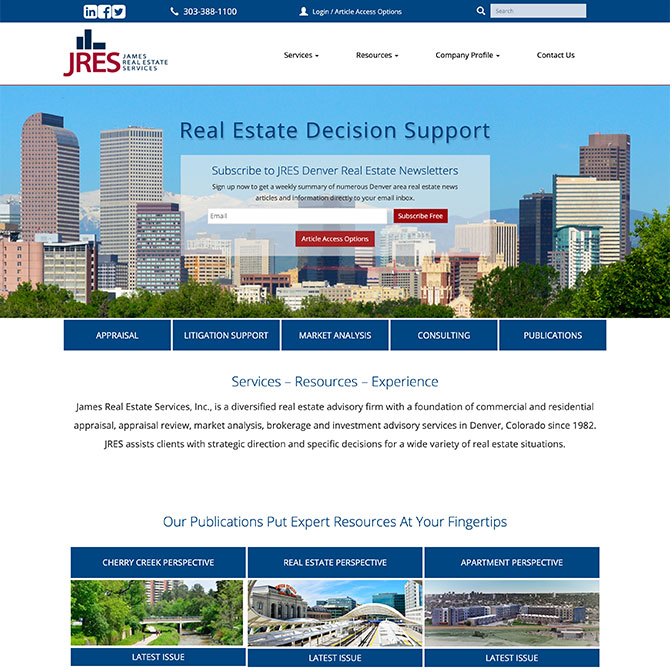 James Real Estate Services Homepage Design