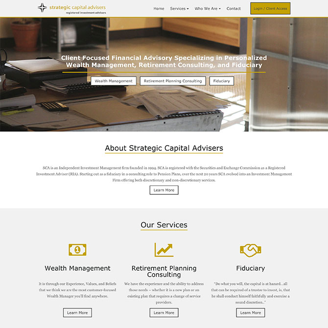 Strategic Capital Advisers Homepage Design
