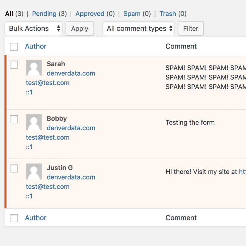 WordPress comments in moderation for spam