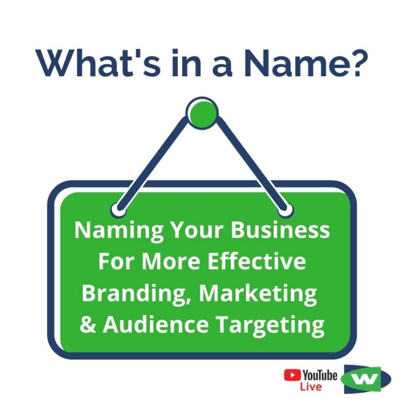 promo image for what's in a name digital strategy chat