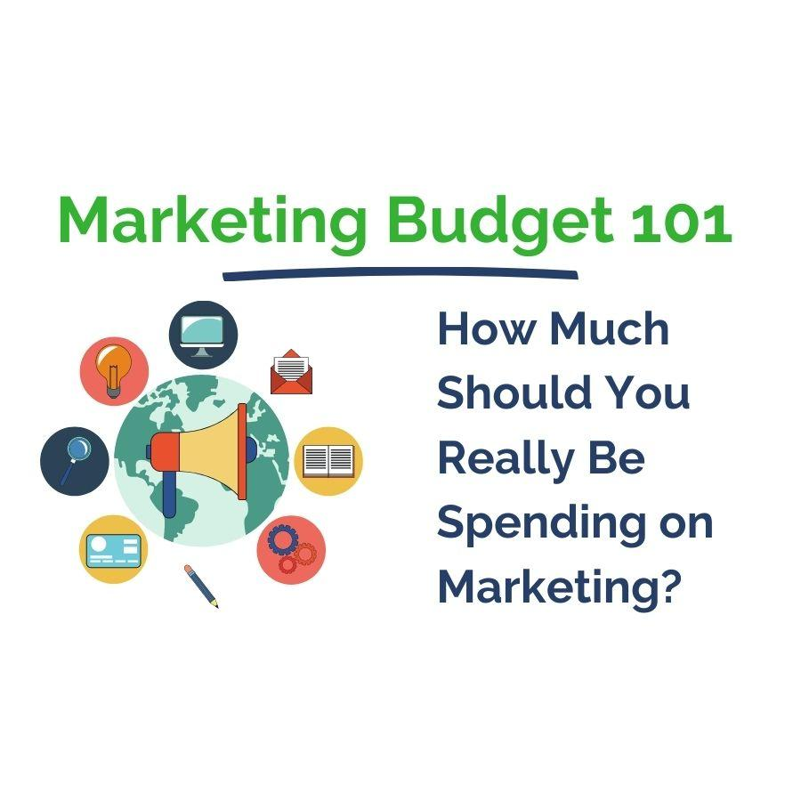 Marketing Budget 101 promo. Includes a megaphone surrounded by marketing tactics