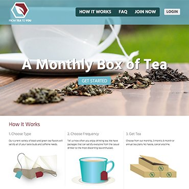 subscription based ecommerce screenshot of FromTeaToYou